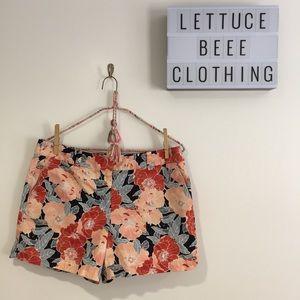 Loft orange navy blue floral flat front shorts 8